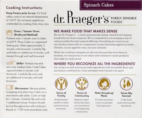 Dr. Praeger's Gluten Free Spinach Cakes Perspective: back