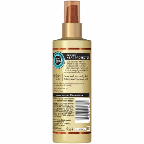 Pantene Gold Series Sulfate-Free Thermal Heat Protector Infused with Argan Oil for Curly Coily Hair Perspective: back