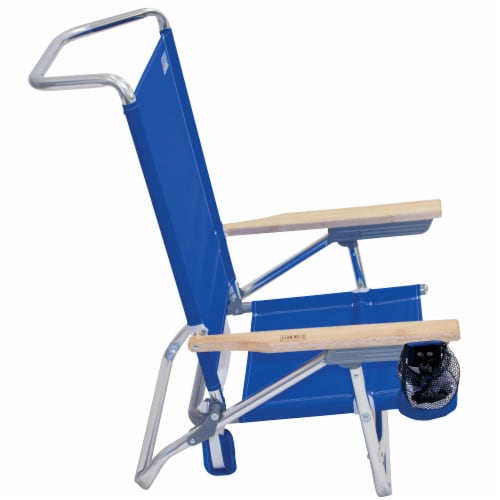 RIO Brands Classic 5 Position Aluminum Lay Flat Folding Beach Lounge Chair, Blue Perspective: back