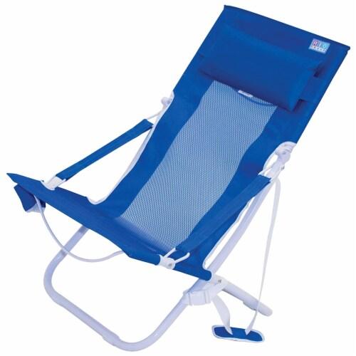 Rio Gear Portable Breeze Hammock Beach Chair w/ Foam Pillow & Cup Holder, Blue Perspective: back