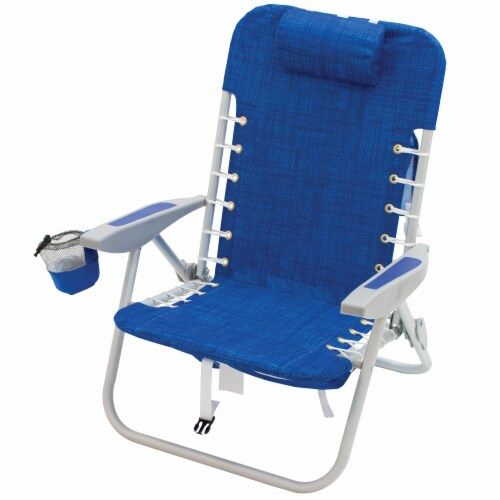 RIO Brands Portable 4 Position Lace Up Folding Backpack Beach Lounge Chair, Blue Perspective: back