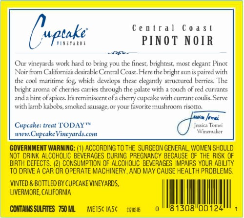 Cupcake Pinot Noir Red Wine Perspective: back