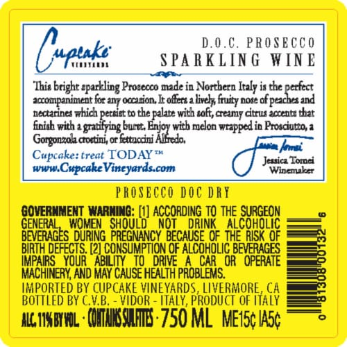 Cupcake Vineyards Prosecco White Wine Perspective: back