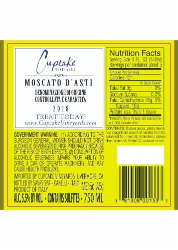 Cupcake Vineyards Moscato D' Asti White Wine Perspective: back