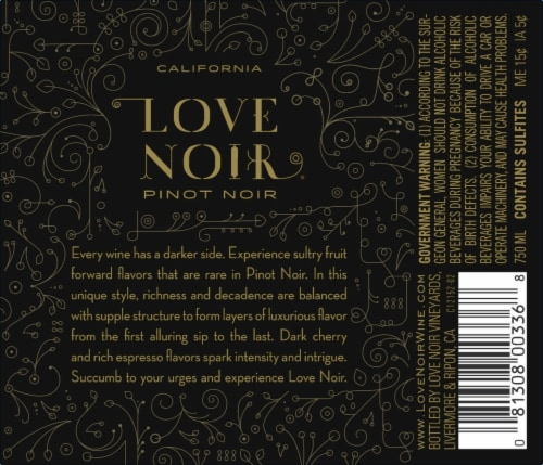 Love Noir Pinot Noir Red Wine Perspective: back