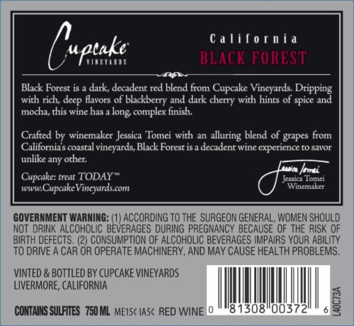 Cupcake Black Forest Decadent Red Wine Perspective: back