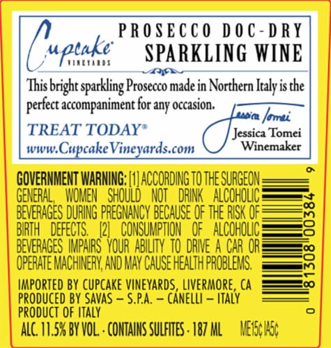 Cupcake Vineyards Prosecco Sparkling Wine Perspective: back
