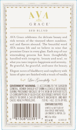 Ava Grace Vineyards Red Blend Wine Perspective: back