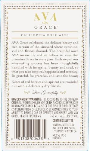 Ava Grace Wineyards Rose Wine Perspective: back