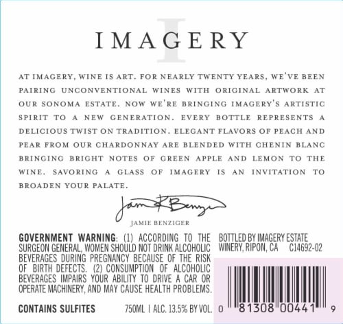 Imagery California Chardonnay White Wine Perspective: back