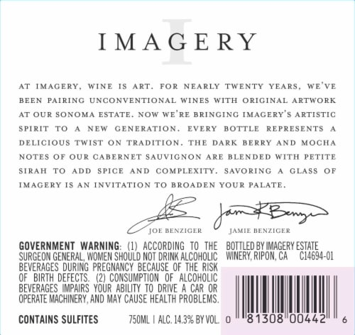 Imagery California Cabernet Sauvignon Red Wine Perspective: back