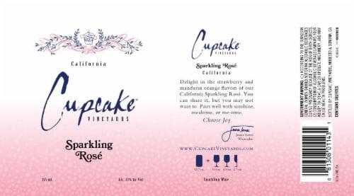 Cupcake Vineyards Sparkling Rose Wine Perspective: back