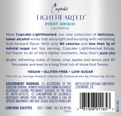 Cupcake Vineyards Light Hearted Pinot Grigio White Wine Perspective: back