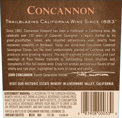 Concannon Founders Cabernet Sauvignon Red Wine Perspective: back