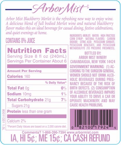 Arbor Mist Blackberry Merlot Fruit Red Wine Perspective: back