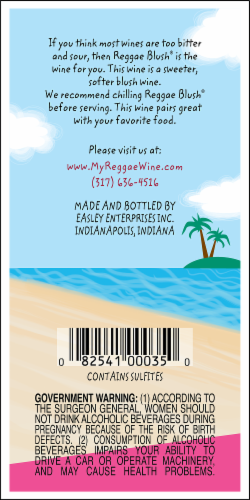 Easley Winery Reggae Blush Red Table Wine Perspective: back