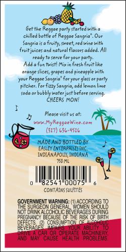 Easley Winery Reggae Sangria Perspective: back