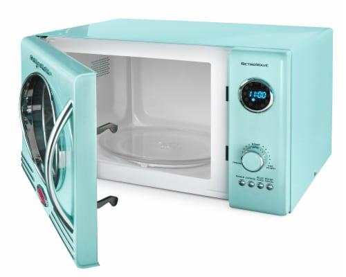 Nostalgia Retro 800-Watt Countertop Microwave Oven - Aqua Perspective: back