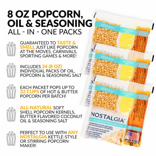 Nostalgia Popcorn Oil & Seasoning Salt All-In-One Packs Perspective: back