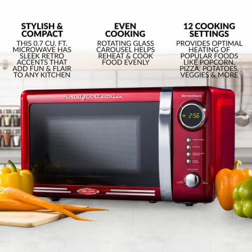 Nostalgia Electrics RetroWave Countertop Microwave Oven - Red/Chrome Perspective: back