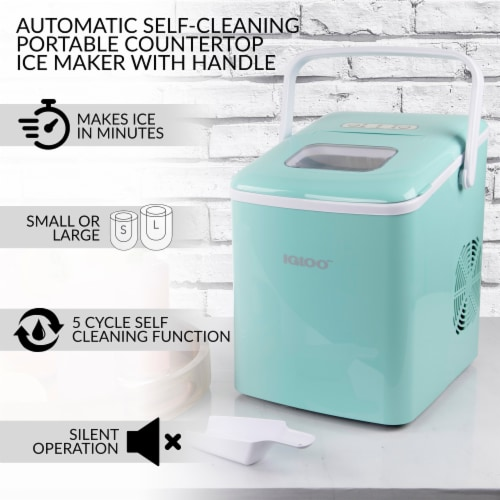 Igloo Automatic Self-Cleaning Portable Countertop Ice Maker with Handle - Aqua Perspective: back