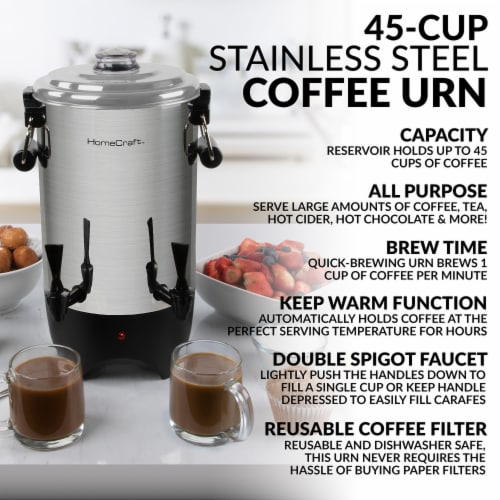 HomeCraft Quick Brewing Automatic Stainless Steel Coffee Urn Perspective: back
