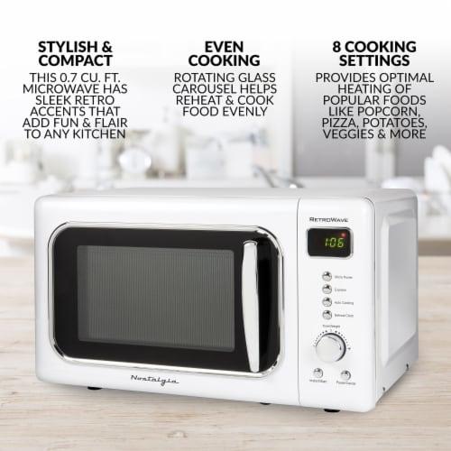 Nostalgia Classic RetroWave Microwave - White/Chrome Perspective: back