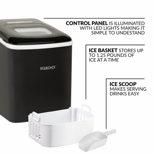 Igloo Automatic Self-Cleaning Portable Countertop Ice Maker - Black Perspective: back