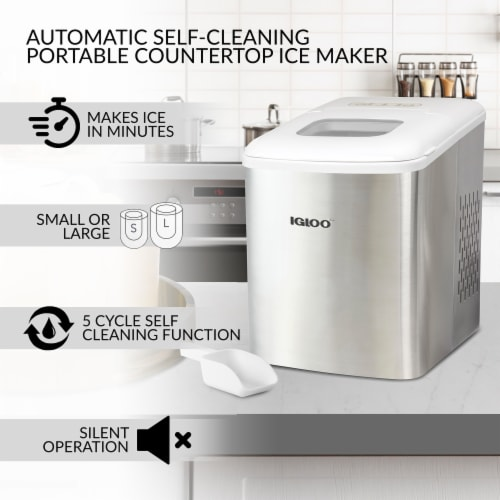 Igloo 26-Pound Automatic Self-Cleaning Portable Countertop Ice Maker Machine - Silver Perspective: back