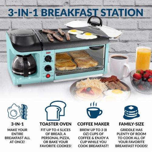 Nostalgia Retro 3-in-1 Family Breakfast Station - Aqua Perspective: back