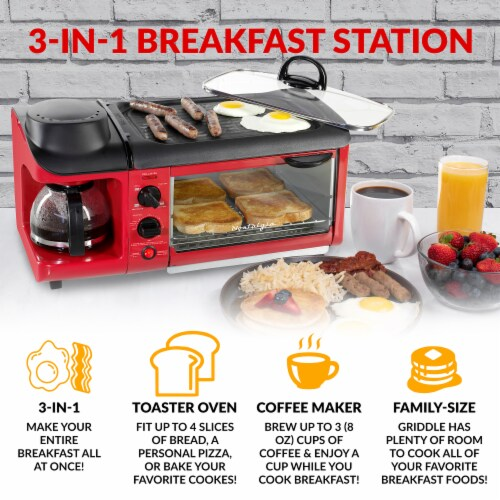 Nostalgia Retro 3-in-1 Family Breakfast Station - Red Perspective: back