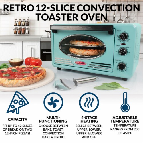 Nostalgia Electrics Retro Series 12-Slice Convection Toaster Oven - Turquoise/Chrome Perspective: back