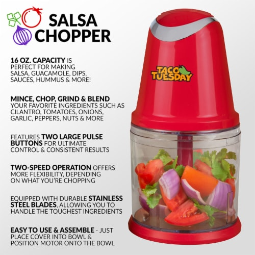 Taco Tuesday Salsa & Guacamole Chopper - Red/Clear Perspective: back