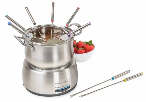 HomeCraft Electric Fondue Set - Silver Perspective: back