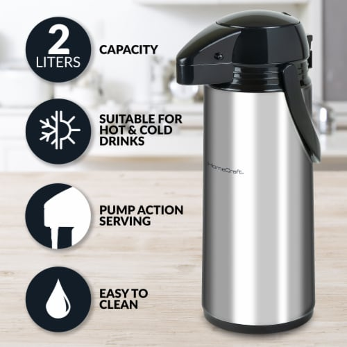 HomeCraft Double Wall Stainless Steel Airpot Coffee Dispenser Perspective: back