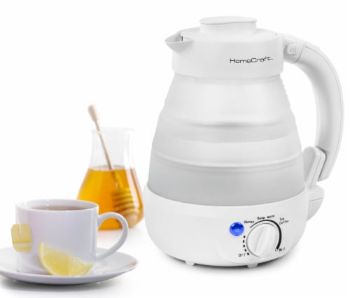 HomeCraft Collapsible Electric Water Kettle - White Perspective: back