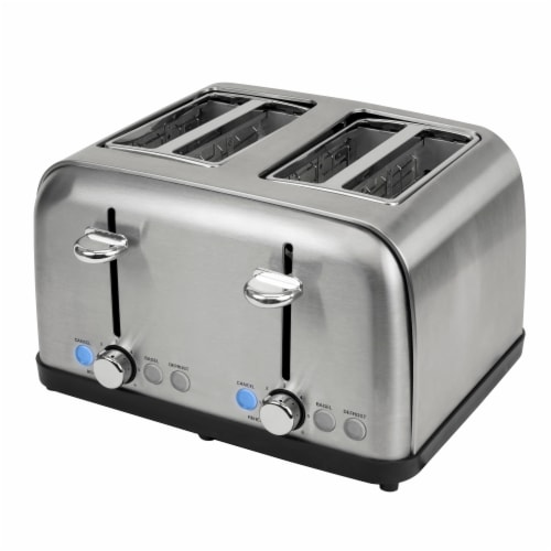 HomeCraft Stainless Steel 4-Slice Toaster - Silver Perspective: back