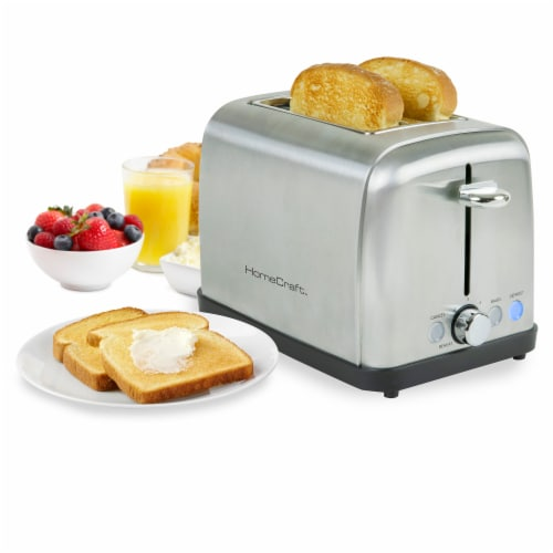 HomeCraft Stainless Steel 2-Slice Toaster - Silver Perspective: back