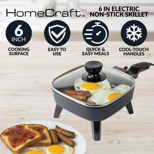 HomeCraft Electric Non-Stick Skillet - Black Perspective: back