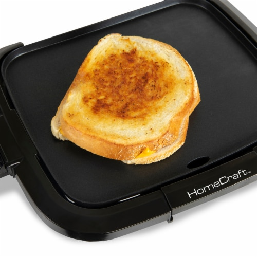 HomeCraft Non-Stick Griddle With Warming Drawer - Black Perspective: back