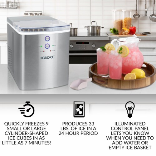 Igloo 33-Pound Stainless Steel Automatic Portable Countertop Ice Maker Machine - Silver Perspective: back