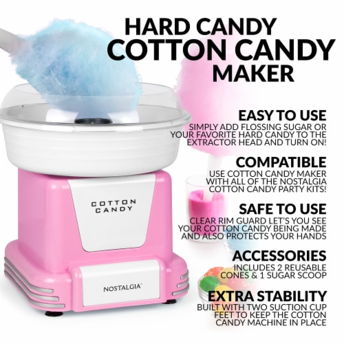 Nostalgia Retro Cotton Candy Maker - Pink/White Perspective: back