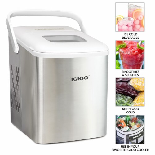 Igloo 26-Pound Stainless Steel Portable Countertop Ice Maker Machine With Handle - Silver/White Perspective: back