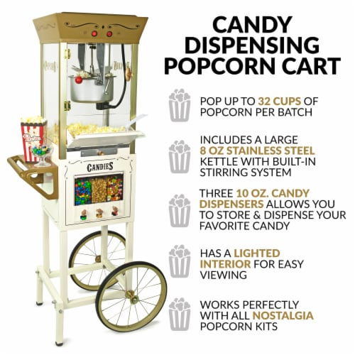 Nostalgia Candy & Snack Dispensing Popcorn Cart - Ivory Perspective: back