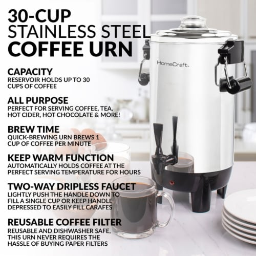 HomeCraft Quick-Brewing Automatic Stainless Steel Coffee Urn Perspective: back