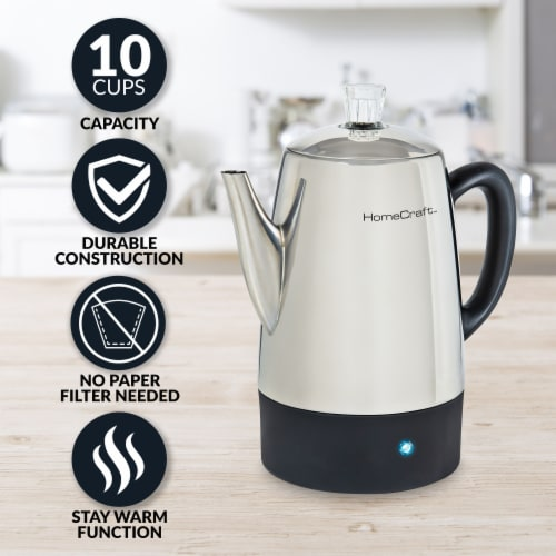 HomeCraft Stainless Steel Coffee Percolator Perspective: back