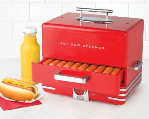 Nostalgia Large Diner Style Hot Dog Steamer Perspective: back