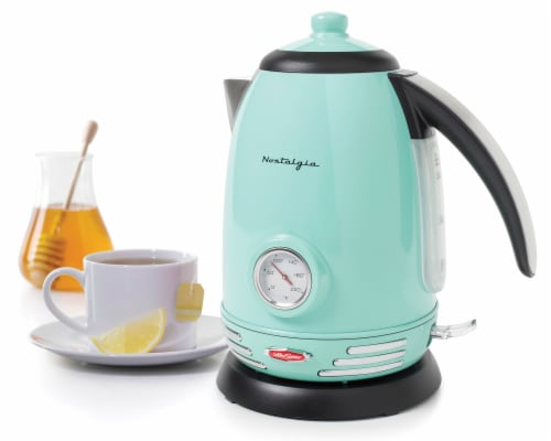Nostalgia Retro Stainless Steel Electric Water Kettle - Aqua Perspective: back