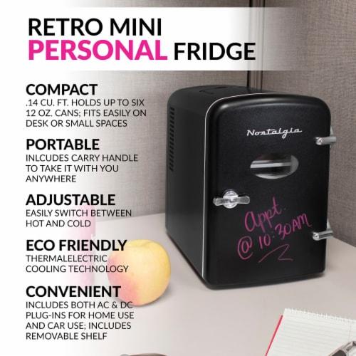 Nostalgia Six Can Single Door Retro Round Refrigerator - Black Perspective: back