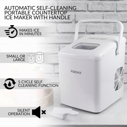 Igloo 26-Pound Automatic Self-Cleaning Portable Countertop Ice Maker Machine With Handle - White Perspective: back